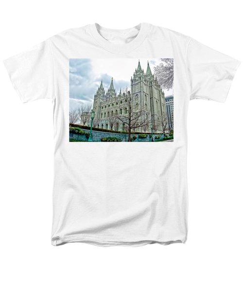 Mormon Temple In Early Spring Men's T-Shirt  (Regular Fit) by Gary Holmes