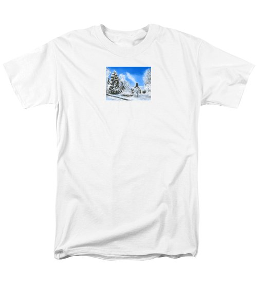 Men's T-Shirt  (Regular Fit) featuring the painting Morning After The Snowstorm  by Jean Pacheco Ravinski