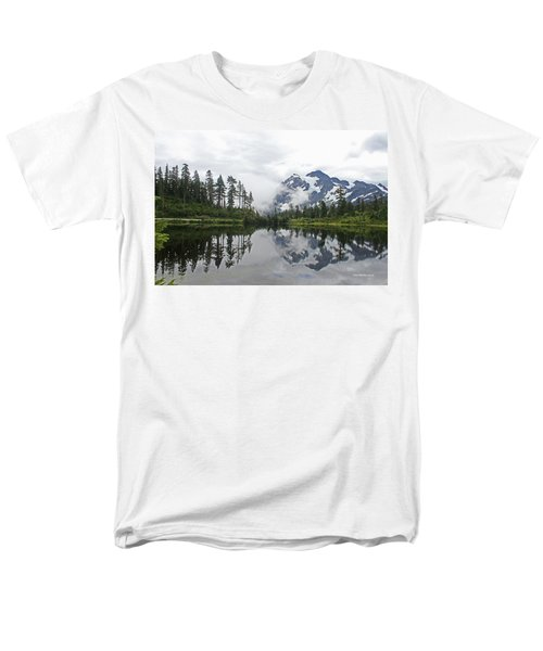 Men's T-Shirt  (Regular Fit) featuring the photograph Mount Baker- Lake- Fir Trees And  Fog by Tom Janca
