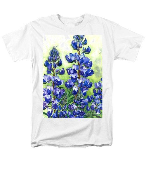 Men's T-Shirt  (Regular Fit) featuring the painting Mountain Blues Lupine Study by Barbara Jewell