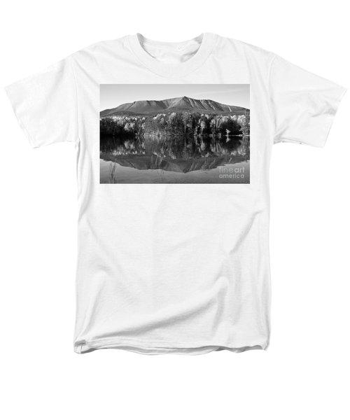 Mt Katahdin Black And White Men's T-Shirt  (Regular Fit)