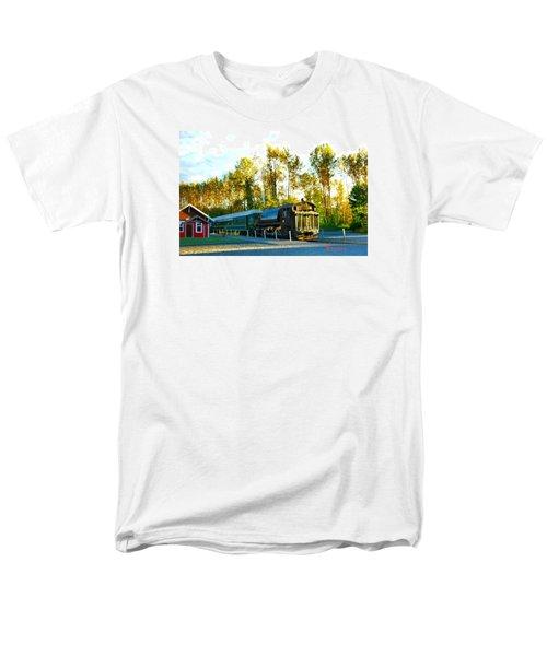 Men's T-Shirt  (Regular Fit) featuring the photograph Mt Rainier W A Scenic Railroad by Sadie Reneau