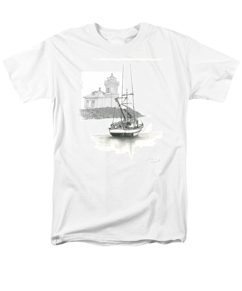 Men's T-Shirt  (Regular Fit) featuring the drawing Mukilteo Lighthouse by Terry Frederick