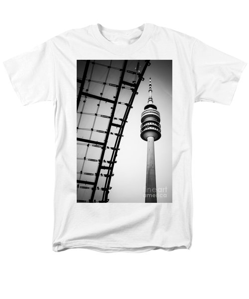Munich - Olympiaturm And The Roof - Bw Men's T-Shirt  (Regular Fit) by Hannes Cmarits
