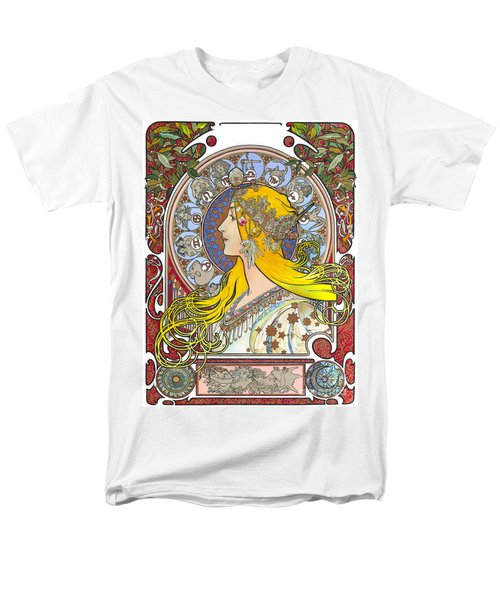 My Acrylic Painting As An Interpretation Of The Famous Artwork Of Alphonse Mucha - Zodiac - Men's T-Shirt  (Regular Fit) by Elena Yakubovich