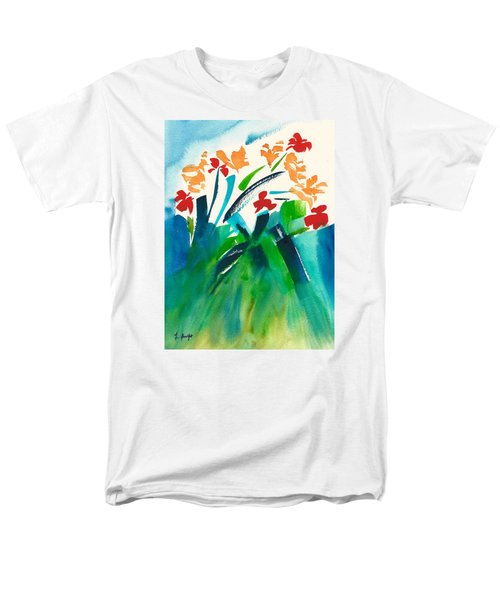 Men's T-Shirt  (Regular Fit) featuring the painting Natures Bouquet Abstract by Frank Bright
