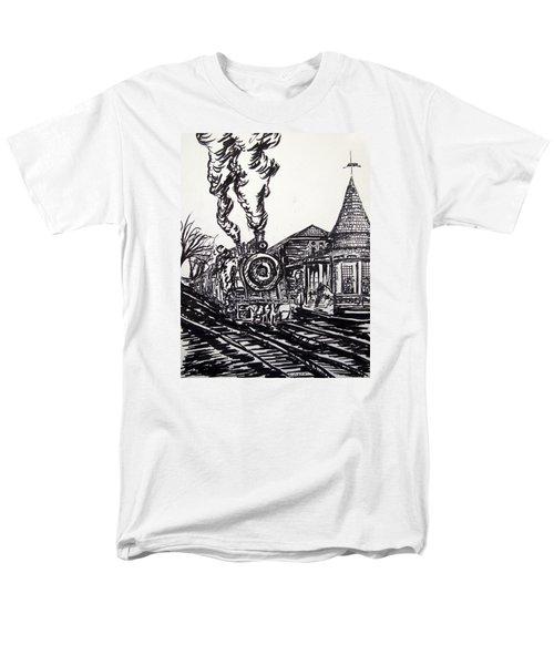 New Hope Train Station Sketch Men's T-Shirt  (Regular Fit) by Loretta Luglio