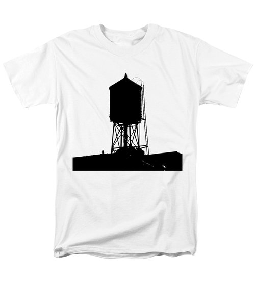 Men's T-Shirt  (Regular Fit) featuring the photograph New York Water Tower 17 - Silhouette - Urban Icon by Gary Heller