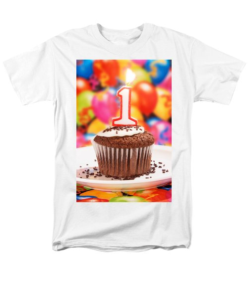 Men's T-Shirt  (Regular Fit) featuring the photograph Chocolate Cupcake With One Burning Candle by Vizual Studio