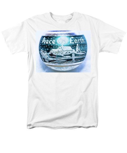 Men's T-Shirt  (Regular Fit) featuring the photograph Christmas Tree Ornament Peace On Earth  by Vizual Studio