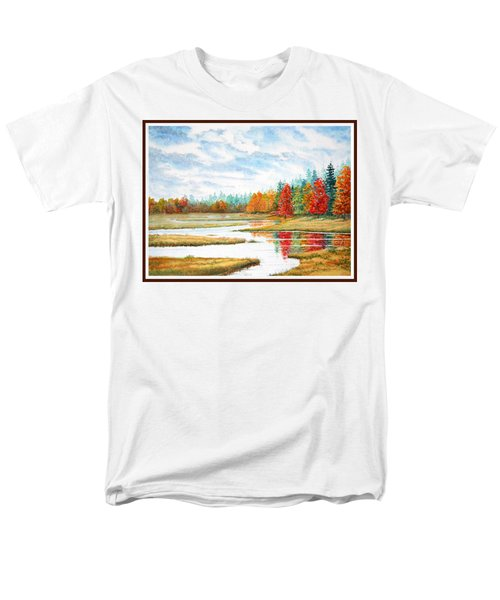 Men's T-Shirt  (Regular Fit) featuring the painting Old Forge Autumn by Roger Rockefeller