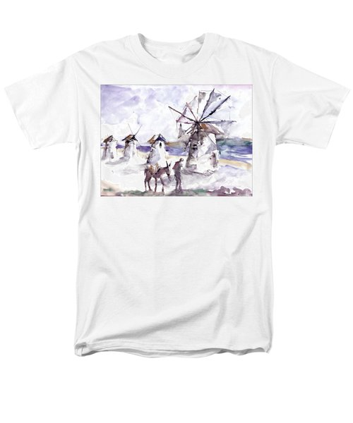 Old Windmills At Bodrum Men's T-Shirt  (Regular Fit) by Faruk Koksal