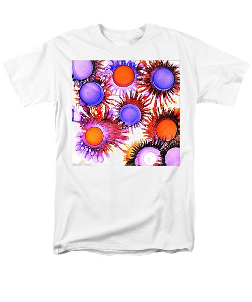 Orange And Purple Alcohol Inks Abstract Men's T-Shirt  (Regular Fit)