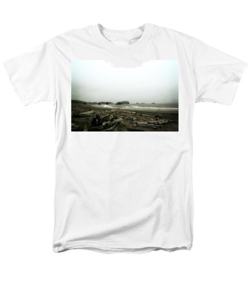 Oregon Beach With Driftwood Men's T-Shirt  (Regular Fit) by Michelle Calkins