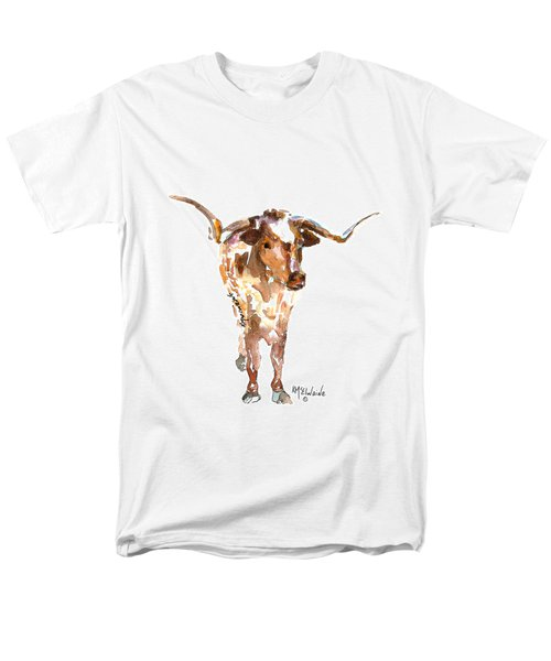 Original Longhorn Standing Earth Quack Watercolor Painting By Kmcelwaine Men's T-Shirt  (Regular Fit) by Kathleen McElwaine