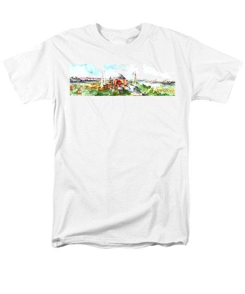 Men's T-Shirt  (Regular Fit) featuring the painting Panoramic Hagia Sophia In Istanbul by Faruk Koksal
