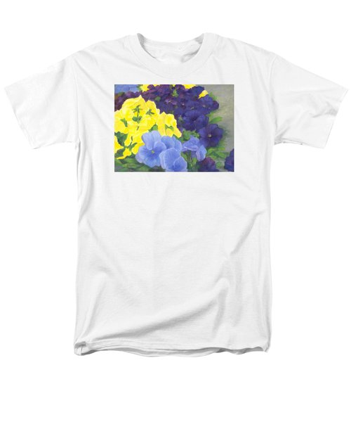 Pansy Garden Bright Colorful Flowers Painting Pansies Floral Art Artist K. Joann Russell Men's T-Shirt  (Regular Fit) by Elizabeth Sawyer