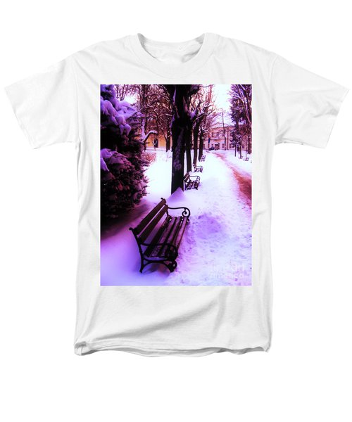 Men's T-Shirt  (Regular Fit) featuring the photograph Park Benches In Snow by Nina Ficur Feenan