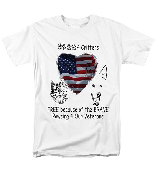 Men's T-Shirt  (Regular Fit) featuring the photograph Paws4critters Free Because Of The Brave by Robyn Stacey