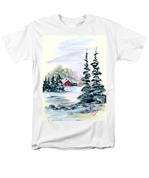 Men's T-Shirt  (Regular Fit) featuring the painting Peaceful Winter by Dorothy Maier