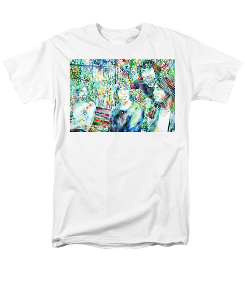 Pink Floyd At The Park Watercolor Portrait Men's T-Shirt  (Regular Fit) by Fabrizio Cassetta