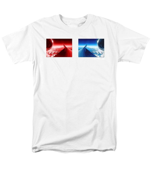 Men's T-Shirt  (Regular Fit) featuring the photograph Red Blue Jet Pop Art Planes  by R Muirhead Art