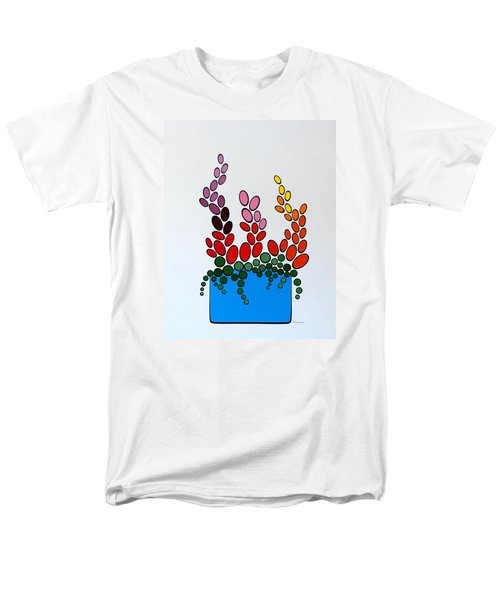 Potted Blooms - Blue Men's T-Shirt  (Regular Fit) by Thomas Gronowski