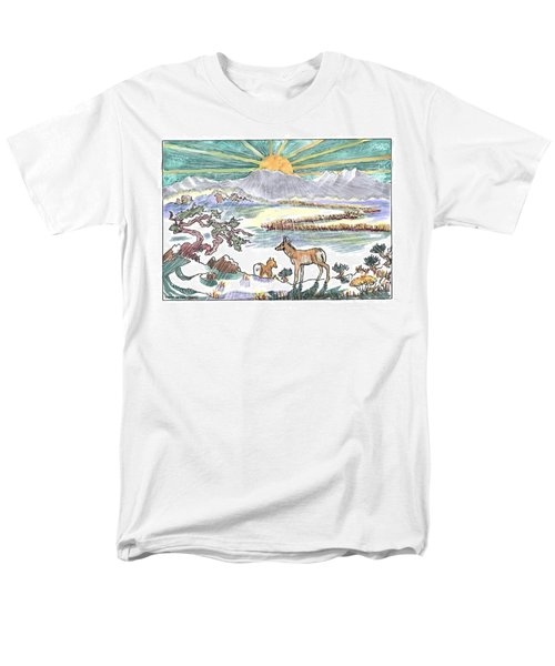 Pronghorn Winter Sunrise Men's T-Shirt  (Regular Fit) by Dawn Senior-Trask