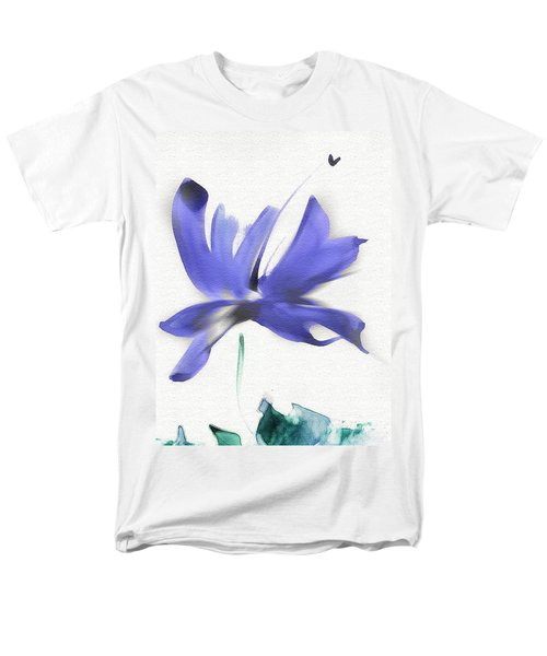 Men's T-Shirt  (Regular Fit) featuring the mixed media Purple Iris In The Greenery by Frank Bright