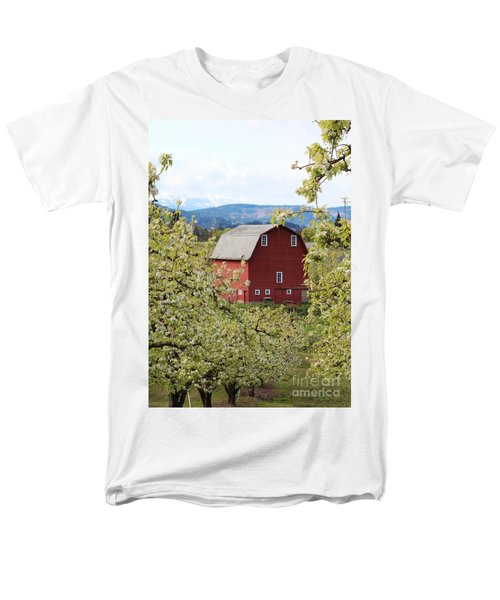 Men's T-Shirt  (Regular Fit) featuring the photograph Red Barn And Apple Blossoms by Patricia Babbitt