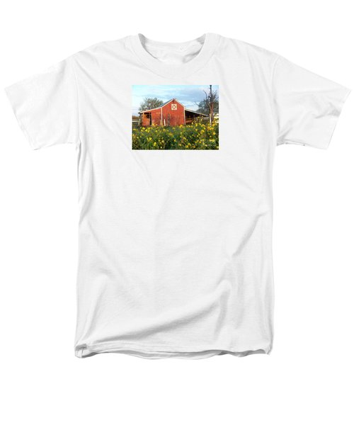 Red Barn With Wild Sunflowers Men's T-Shirt  (Regular Fit) by Susan Williams