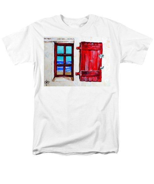 Red Shutter Ocean Men's T-Shirt  (Regular Fit) by Jackie Carpenter