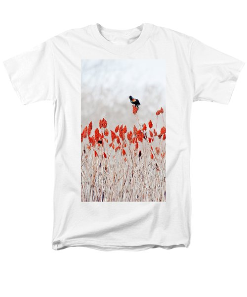 Red Winged Blackbird On Sumac Men's T-Shirt  (Regular Fit) by Steven Ralser
