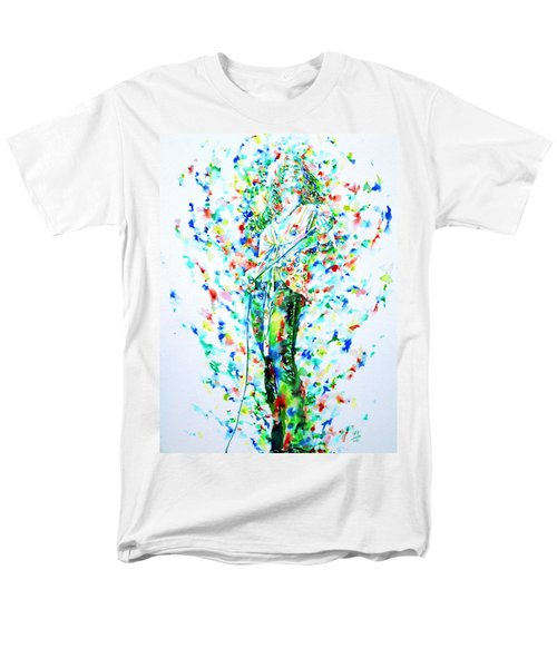 Robert Plant Singing - Watercolor Portrait Men's T-Shirt  (Regular Fit) by Fabrizio Cassetta