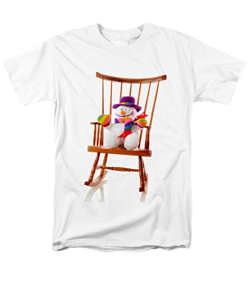 Men's T-Shirt  (Regular Fit) featuring the photograph Happy Snowman Sitting In A Rocking Chair  by Vizual Studio