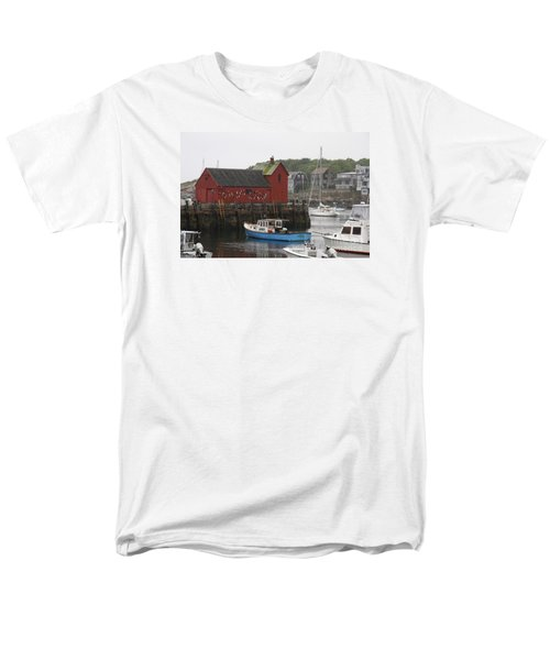 Rockport Inner Harbor With Lobster Fleet And Motif No.1 Men's T-Shirt  (Regular Fit) by Christiane Schulze Art And Photography