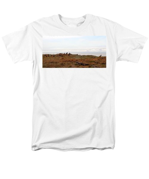 Roosevelt Elk And The Ocean Men's T-Shirt  (Regular Fit) by Michelle Calkins