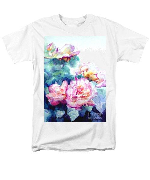 Men's T-Shirt  (Regular Fit) featuring the painting Pink Rose Bush by Greta Corens