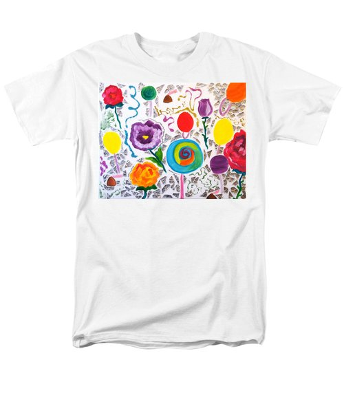Men's T-Shirt  (Regular Fit) featuring the painting Roses And Lollipops For Mom by Meryl Goudey