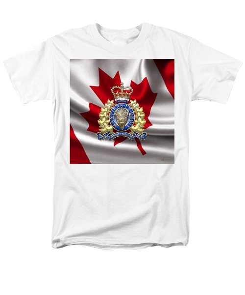 Royal Canadian Mounted Police - Rcmp Badge Over Waving Flag Men's T-Shirt  (Regular Fit) by Serge Averbukh