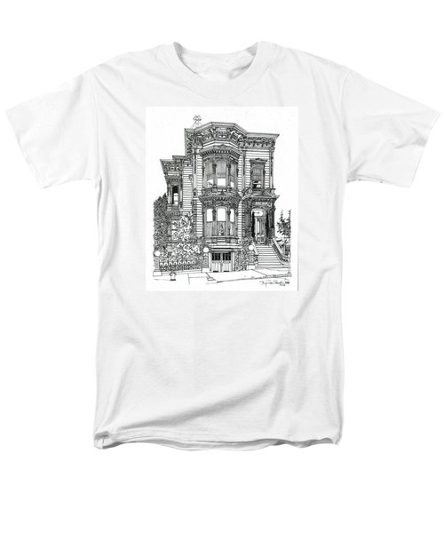 Men's T-Shirt  (Regular Fit) featuring the drawing San Francisco Victorian   by Ira Shander