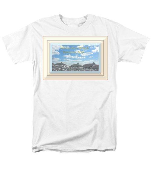 Sand Dolphins - Digitally Framed Men's T-Shirt  (Regular Fit) by Susan Molnar