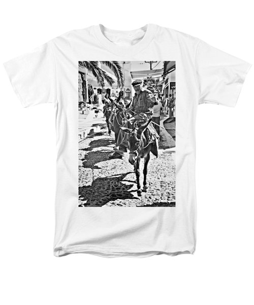Men's T-Shirt  (Regular Fit) featuring the photograph Santorini Donkey Train. by Meirion Matthias