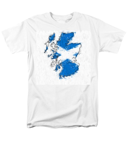 Scotland Painted Flag Map Men's T-Shirt  (Regular Fit) by Antony McAulay