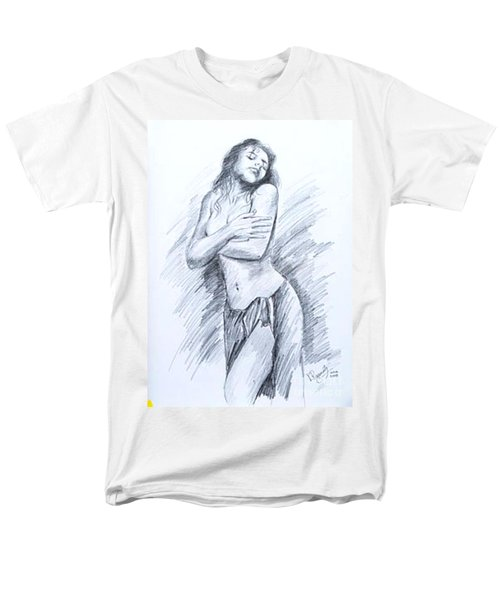 Men's T-Shirt  (Regular Fit) featuring the painting Semi Nude by Ragunath Venkatraman
