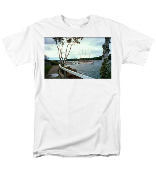 Shore Path In Bar Harbor Maine Men's T-Shirt  (Regular Fit) by Judith Morris