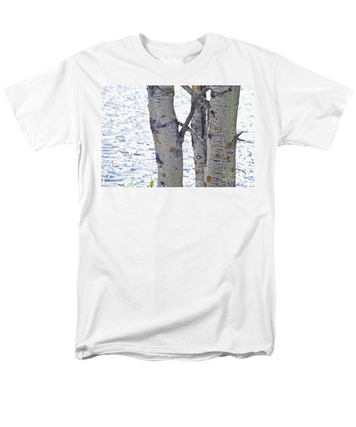 Silver Birch Trees At A Sunny Lake Men's T-Shirt  (Regular Fit) by Heiko Koehrer-Wagner