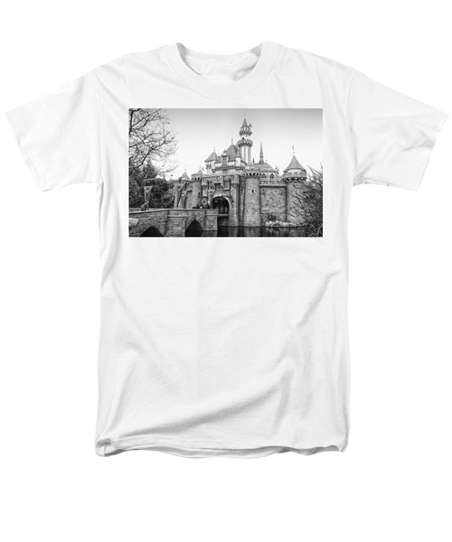 Sleeping Beauty Castle Disneyland Side View Bw Men's T-Shirt  (Regular Fit) by Thomas Woolworth