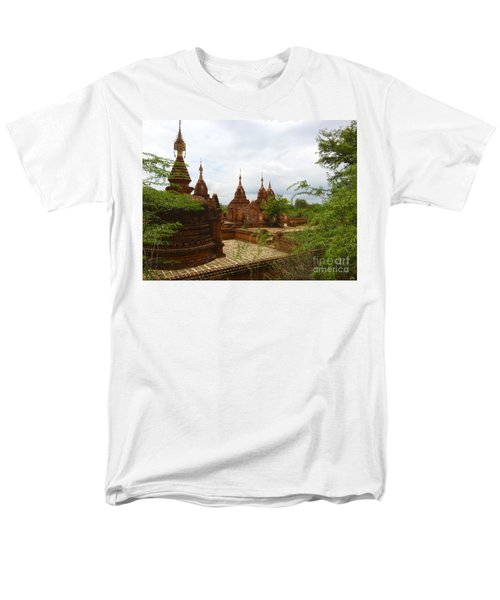 Men's T-Shirt  (Regular Fit) featuring the photograph Smaller Temples Next To Dhammayazika Pagoda Built In 1196 By King Narapatisithu Bagan Burma by Ralph A  Ledergerber-Photography