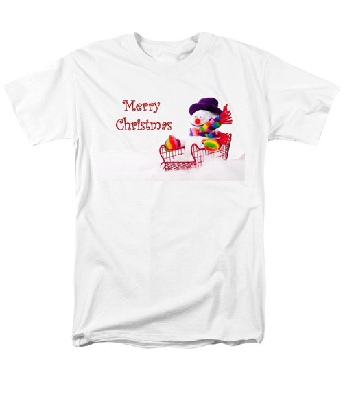 Men's T-Shirt  (Regular Fit) featuring the photograph Snowman Riding In A Red Sleigh - Christmas  by Vizual Studio
